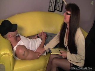 Sexy Cougar Shrink Alexandra Seduces Her Patient!