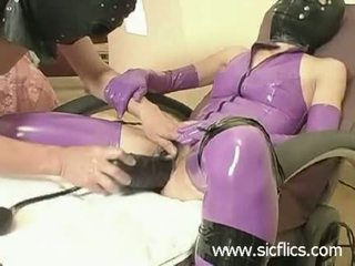 Slave slut fucked with a gigantic inflatable dildo
