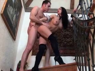 Super Busty Brunette In Black Stockings Fucked On The Stairs