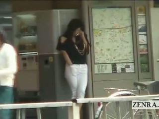 Subtitled Japanese AV Star Public Station Masturbation