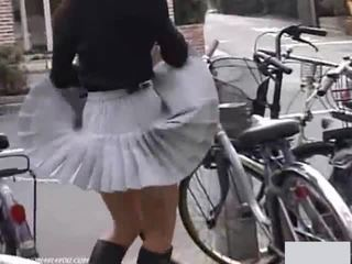Japanese schoolgirls panties exposed outdoor