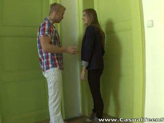 Casual Teen Sex: Teen babe Olga enjoys big facial