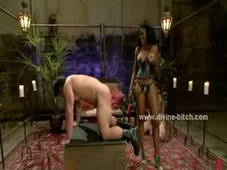 Men hanged in ropes used by dominatrix slut that loves to humiliate them in kinky femdom sex video