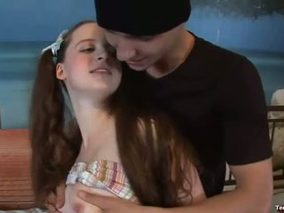 Flexible teen flirts with a guy
