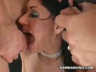 brunette porno, groot pijpbeurt, controleren drietal neuken
