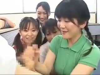 japanse scène, vol handjobs, cfnm actie