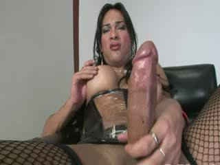 Big Titty tgirl in pants in leather