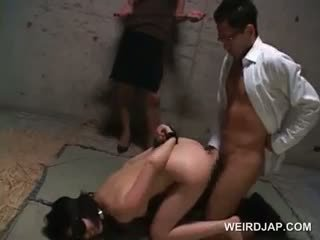 Blindfolded Asian Sex Slave Brutally Fucked In Threesome