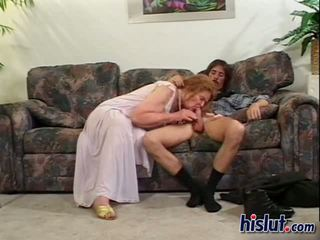 Ugly ginger granny fucks two young lads