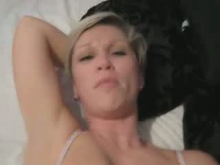 Short Haired Blonde Milf Gets Creampied