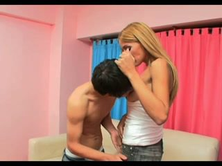 Hot blonde tranny bonking a boy