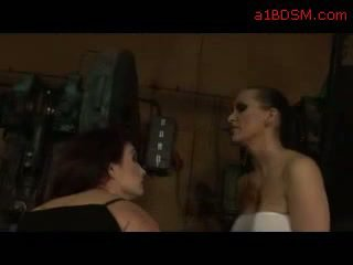 Girl In Black Dress Tied To Chair Getting Her Pussy Fingered By Mistress In The Workshop