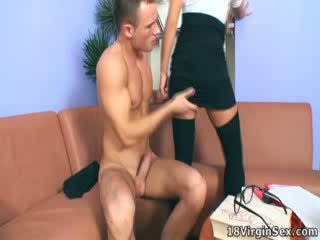 Hot teacher is fucked on the sofa in her office.