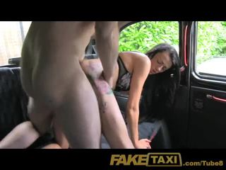 FakeTaxi Young girl with sexy tattoos in backseat creampie