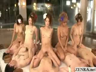 Japanese coordinated cowgirl orgy with group handjob