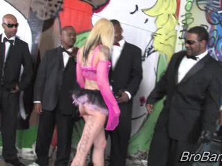 Ten enormous black Cocks spraying Cum on Faye Runa