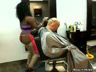 Big Assed Barber Tia Seduces Her Client And Fucks Him At Her Work Place