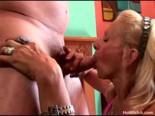 Cock Sucking Blonde Granny Having Her Mouth Fuck