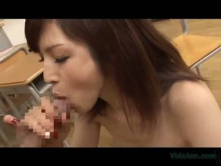 Teacher In Skirt Giving Blowjob For Student Licked And Fucked In The Classroom