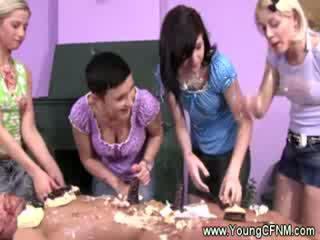 Femdom dolls turns guy into theor cake