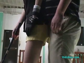 Asian Girl Giving Blowjob On Her Knees For Her Golf Instructor