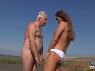 Old man beach sex