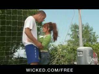 Big-tit British redhead Soccer mom Lia Lor fucks her son's coach