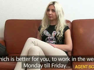 Sexy blonde amateur babe Julia tricked by pervert fake agent