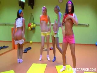 Four Smut Teen Girls Do Aerobics Together And Dick Suck Shaft