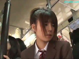 Büro dame stimulated mit vibrator giving blowjob auf sie knees auf die bus