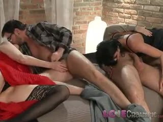 Love Creampie Two mature MILF swingers share husbands cocks in naughty orgy