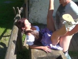 European country girl gets bend over the table and fucked