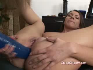 Giant toy destroys slut ass