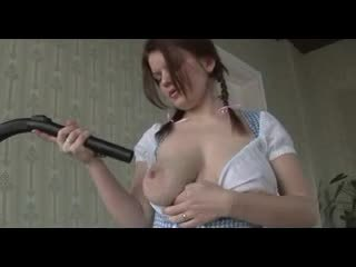 Busty Redhead play with her Vacuum Cleaner