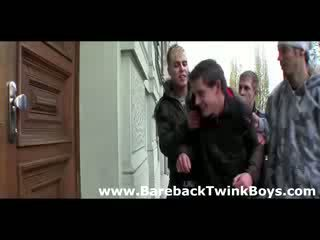 Surprise gay group sex for twink from friends