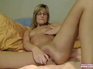 Sweet milked milf Carle with glasses gets squirt