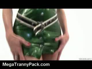Hot Tranny in Latex Cums Hard!