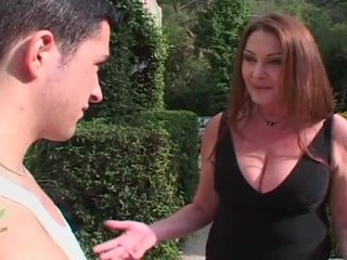 Horny blonde milf entices huge young cock to fuck her hairy pussy