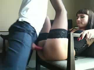 Nóng vợ gets ass fucked lược trong cô ấy đồ lót