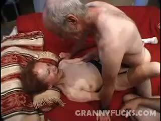 granny, cumshot, threesome, mature