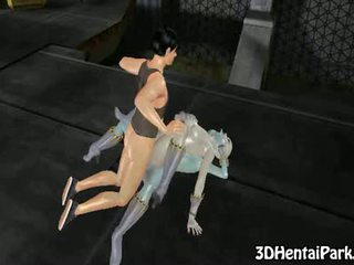 3d alien babes get their pussies fucked and