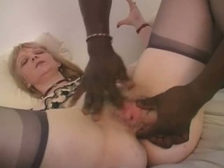 Blonde French Grandma Interracial Anal