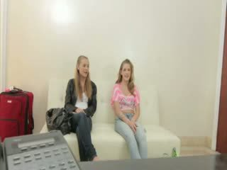 Two super sexy Blond girls are applying for a job in the porn biz