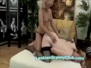 Sexy mature Blonde with strapon doggyfucks chunky and stacked granny