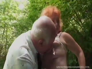 Older Red Head Tart Nearly Massive Scones Got Laid Doggy In The Bushes