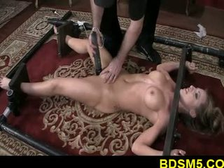 Big tit blonde Athena strapped and legs tied
