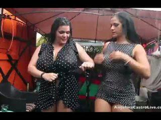 Angelina castro a miss raquel kočička hrát v the déšť!