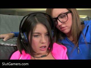 Slut Gamer Girl Lesbians Playing Playstation