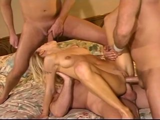 Blonde sluut takes three cocks