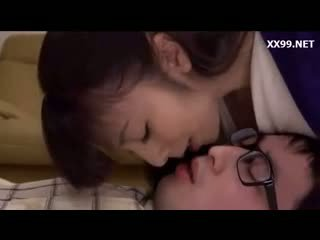 brünett, jaapani, suudlemine